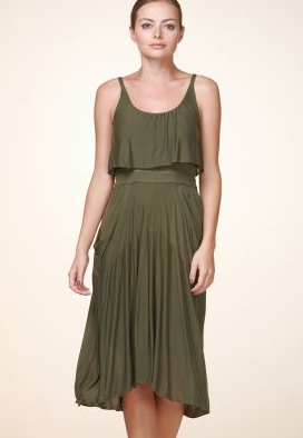 Army Green Crocodile Draped Dress from Zalora