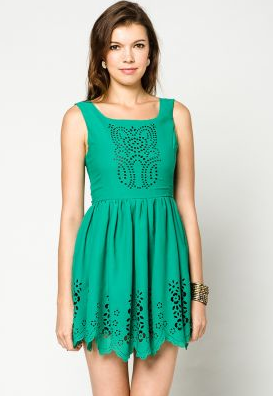 Green Cut Out Flowers Dress from Zalora