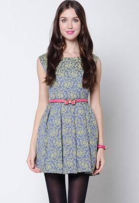 Inner Circle Baroque Lace Blue Dress from Zalora