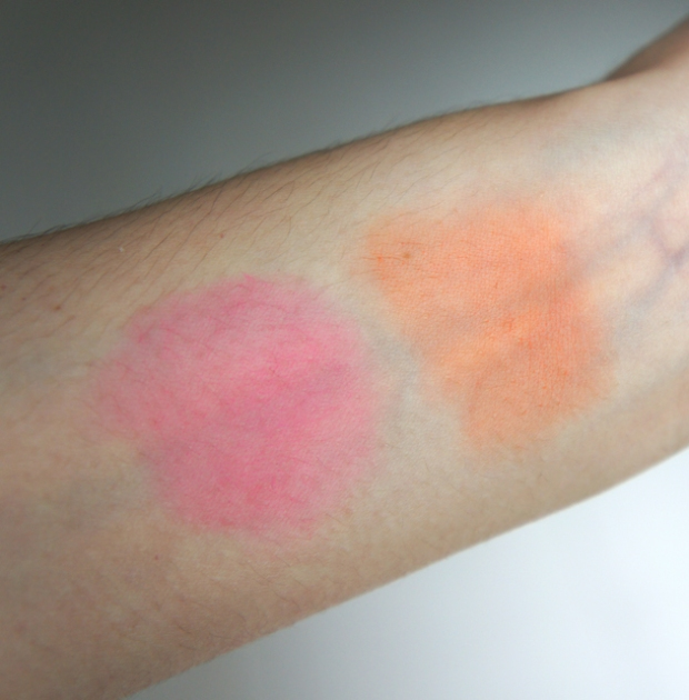 Swatches - YSL Creme de Blush in 4 Bright Coral and 5 Fuchsia Temptation