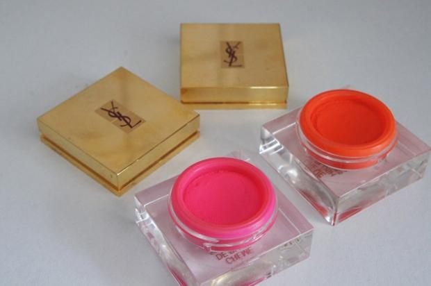 YSL Creme de Blush in 4 Bright Coral and 5 Fuchsia Temptation